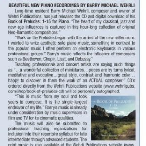 """Book of Preludes"" CD Release in August 2016 Studio City Lifestyle Magazine ""Media Zone"" article."
