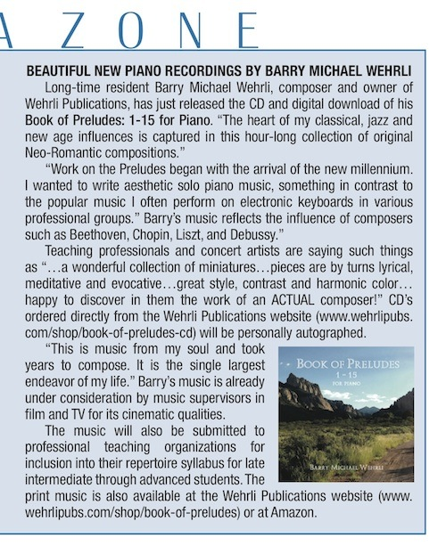 "Book of Preludes CD release in Studio City Lifestyle Magazine ""Media Zone"" article."