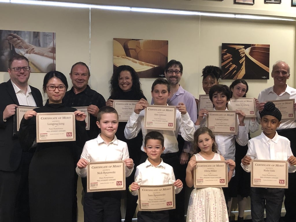 Barry Michael Wehrli presents Certificates of Merit to 13 pianists, concluding the Fall 2019 Student Concert.